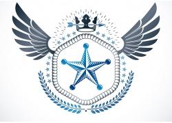 五角星翅膀皇冠徽标