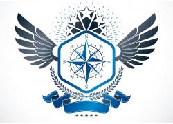 五角星翅膀丝带徽标