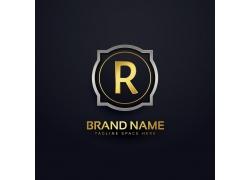 金色R字母logo设计