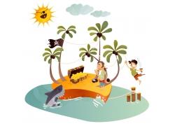 卡通海岛宝藏漫画图片