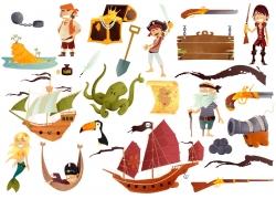 卡通海盗宝藏漫画图片