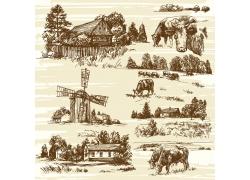 牧场风景素描插画
