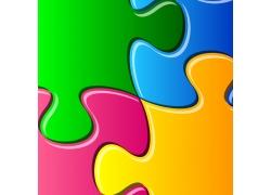 彩色拼图背景图片
