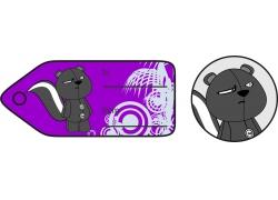 灰色小熊紫色礼品卡标签图片