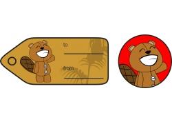 开心小熊礼品卡标签图片