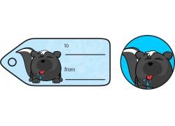 蓝色动物礼品标签图片