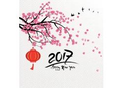 2017新年海报梅花背景