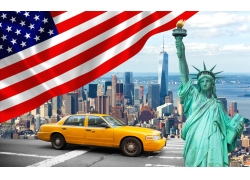 纽约风景与星条旗