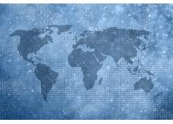 蓝色数字世界地图