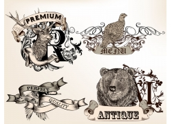欧式花纹动物插画图片