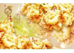 金色牡丹蝴蝶3D电视背景墙