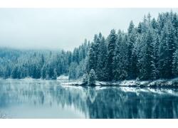 湖泊树林雪景