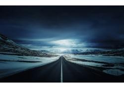 公路冬季雪景