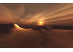 沙漠黄昏风景