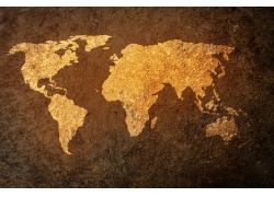金色质感世界地图