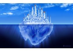 卡通小岛城堡风景