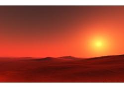 沙漠红霞风光