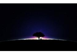 日出小树风光