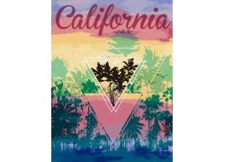 水彩水墨椰子树印花图案
