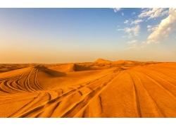 沙漠上的车轮印