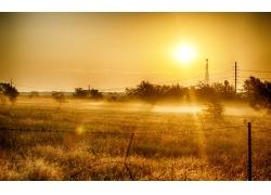 牧场草地日出风景