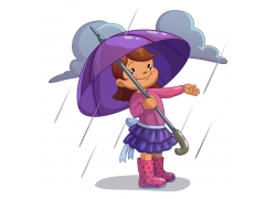 雨天拿雨伞的女孩图片