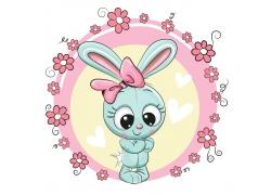 鲜花与兔子设计图片