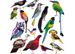 彩色小鸟折纸插画