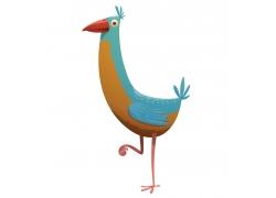 长颈小鸟插画
