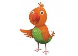 橙色小鸟插画