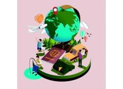 卡通地球仪图片