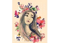 水彩画女孩鲜花图片