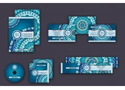 蓝色花纹横幅名片设计