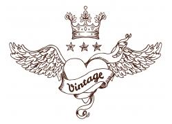 皇冠翅膀心形飘带