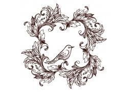小鸟树叶花纹