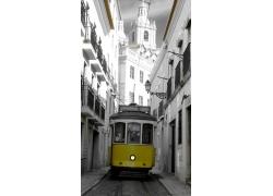 城市中的电车摄影