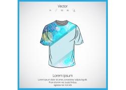 蓝色光斑几何T恤模板