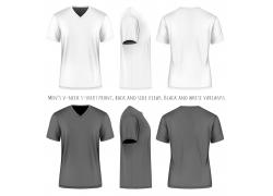 灰色和白色短袖T恤