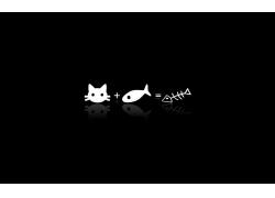 卡通猫咪与卡通鱼