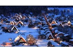 冬天房屋雪景