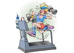 跑步机健身的女人