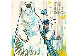 卡通北极熊与男人图片
