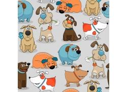 卡通小狗无缝背景图片