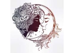 月亮与女孩插画图片