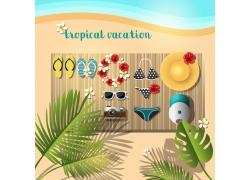 沙滩旅游海报背景