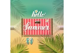 夏日海报吊床背景