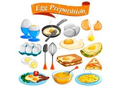 卡通煎蛋三明治图片