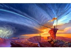 夕阳下的山峰与士兵