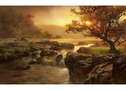 夕阳下的树林与河流