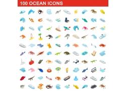 海洋动物按钮图标图片